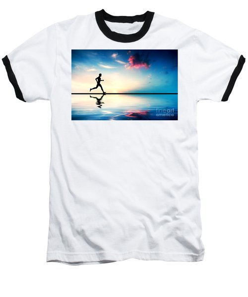 Silhouette Of Man Running At Sunset Baseball T-Shirt