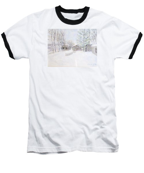 Snowy February Day Baseball T-Shirt