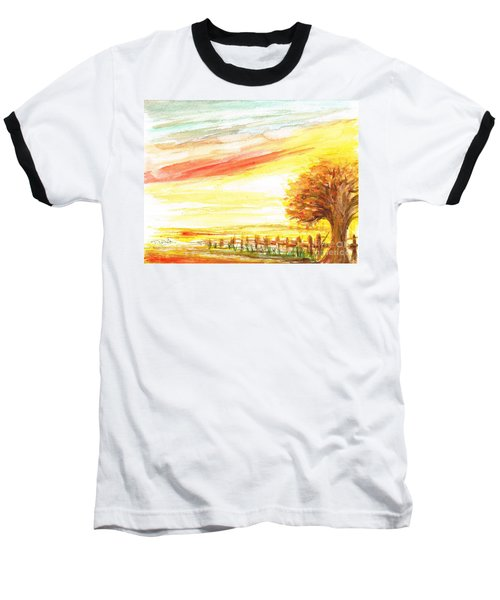Baseball T-Shirt featuring the painting Sunset by Teresa White