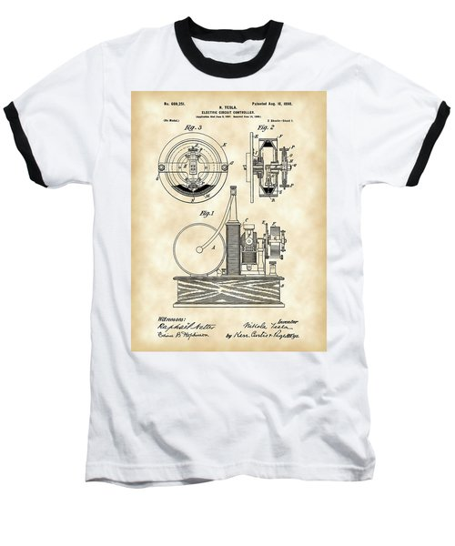 Tesla Electric Circuit Controller Patent 1897 - Vintage Baseball T-Shirt