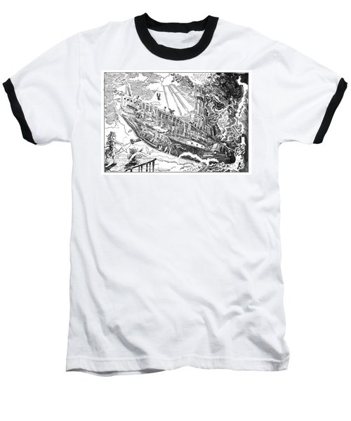 Baseball T-Shirt featuring the drawing The Flying Submarine by Reynold Jay