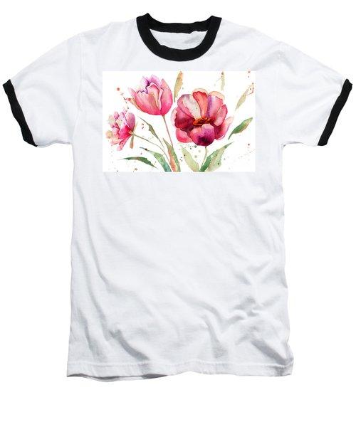 Three Tulips Flowers  Baseball T-Shirt