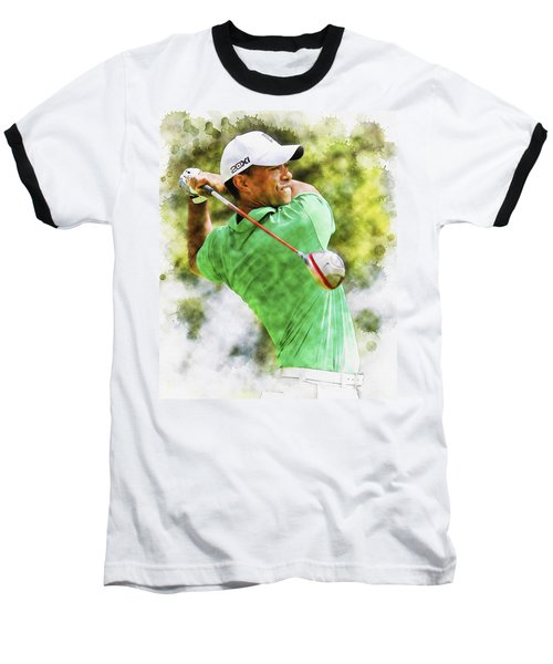 Tiger Woods Hits A Drive  Baseball T-Shirt