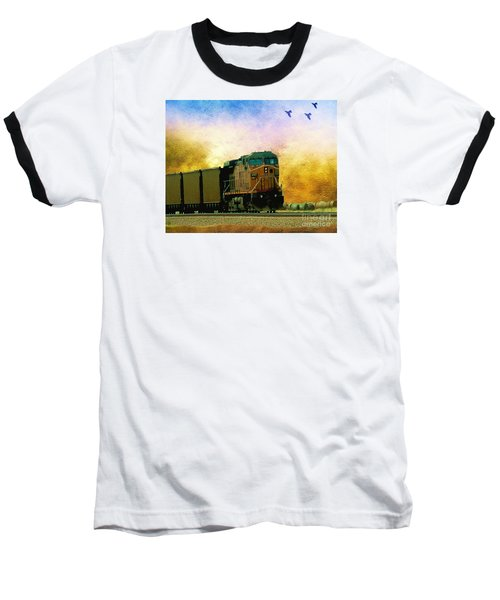 Union Pacific Coal Train Baseball T-Shirt by Janette Boyd