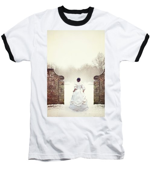 Victorian Woman In Snow Baseball T-Shirt