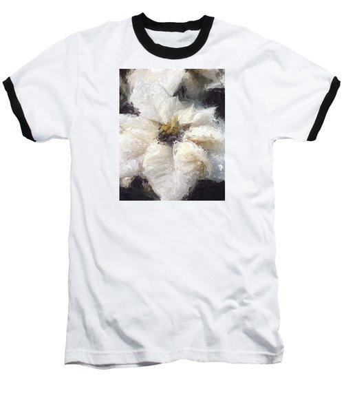 Baseball T-Shirt featuring the painting White Poinsettias Christmas Card by Jennifer Hotai