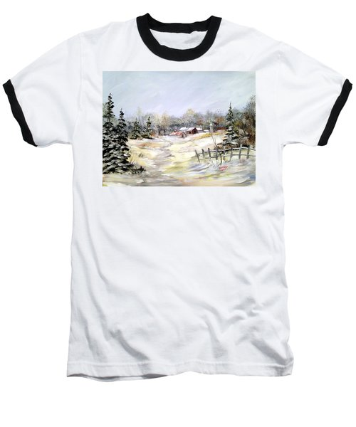 Winter At The Farm Baseball T-Shirt by Dorothy Maier