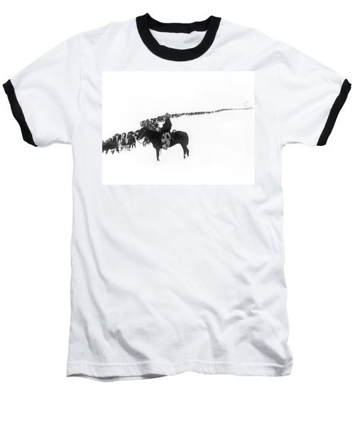 Wintertime Cattle Drive Baseball T-Shirt