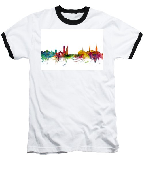 Zurich Switzerland Skyline Baseball T-Shirt