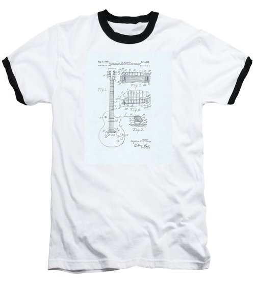 Guitar Patent Drawing On Blue Background Baseball T-Shirt