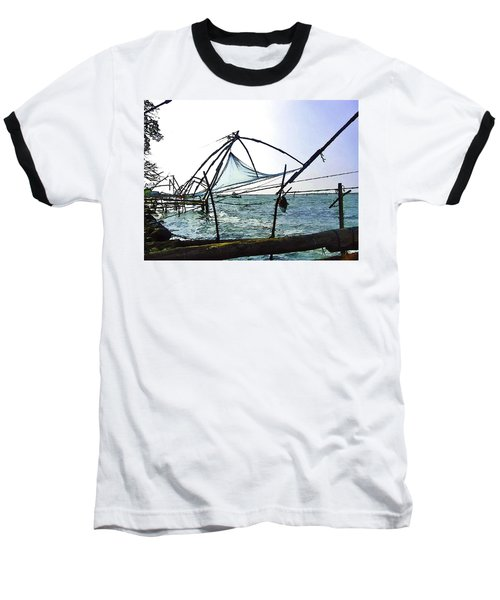 Fishing Nets On The Sea Coast In Alleppey Baseball T-Shirt