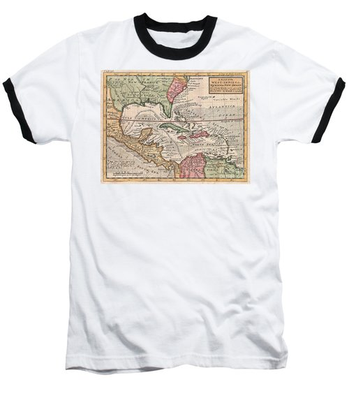1732 Herman Moll Map Of The West Indies And Caribbean Baseball T-Shirt