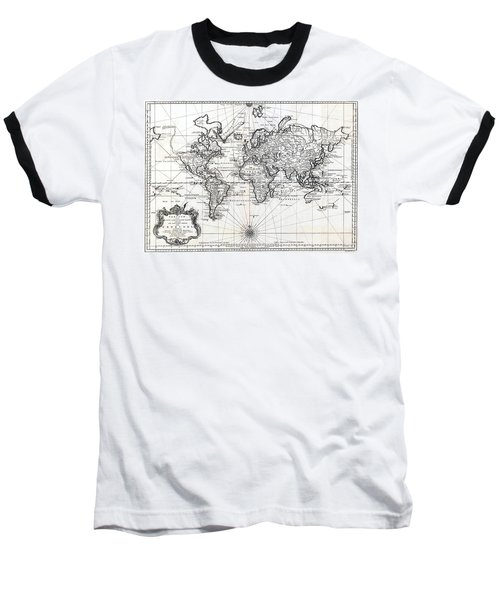 Baseball T-Shirt featuring the photograph 1748 Antique World Map Versuch Von Einer Kurzgefassten Karte  by Karon Melillo DeVega