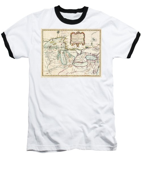 1755 Bellin Map Of The Great Lakes Baseball T-Shirt