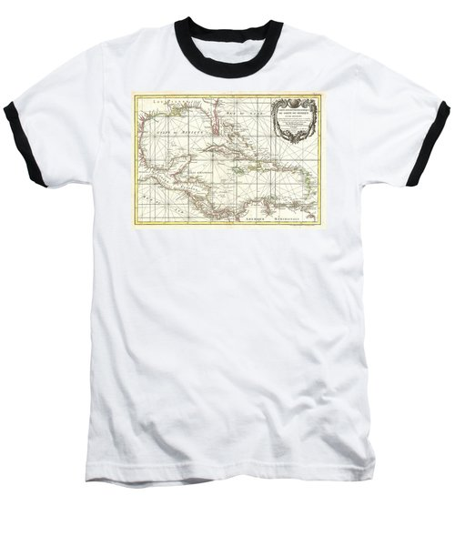 1762 Zannoni Map Of Central America And The West Indies Baseball T-Shirt