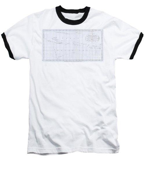 1780 Cook  Hogg Map Of Tahiti  Baseball T-Shirt