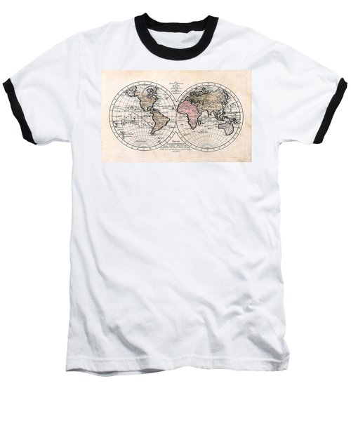Baseball T-Shirt featuring the photograph 1791 Antique World Map Die Funf Theile Der Erde by Karon Melillo DeVega