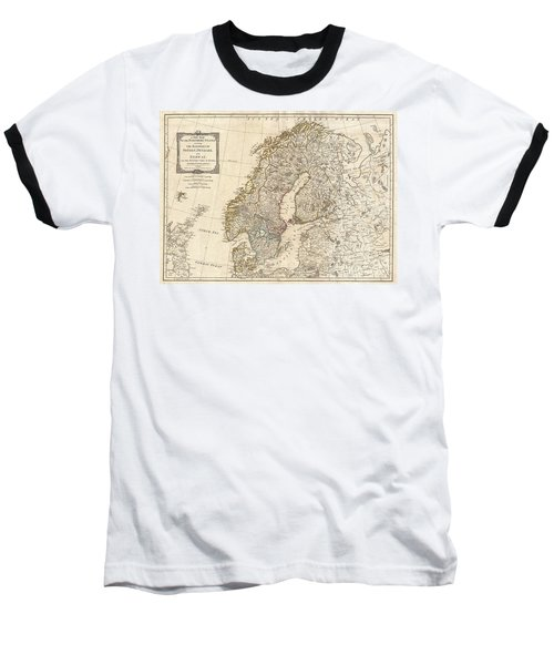 1794 Laurie And Whittle Map Of Norway Sweden Denmark And Finland Baseball T-Shirt