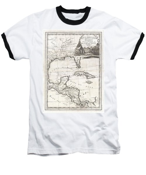 1798 Cassini Map Of Florida Louisiana Cuba And Central America Baseball T-Shirt