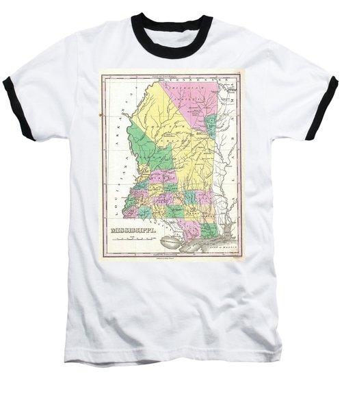 1827 Finley Map Of Mississippi Baseball T-Shirt