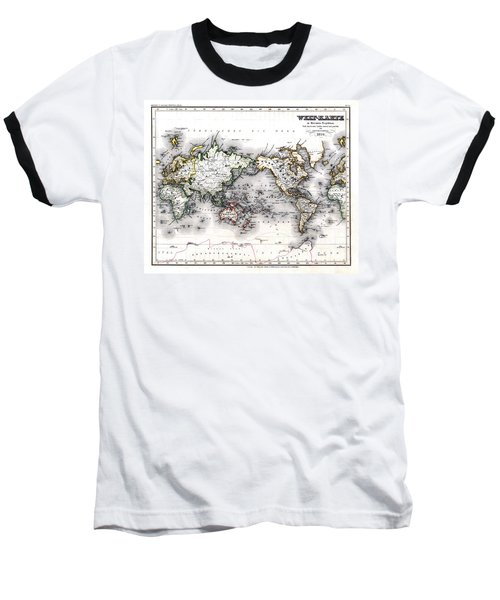 Baseball T-Shirt featuring the photograph 1850 Antique World Map Welt Karte In Mercators Projektion by Karon Melillo DeVega