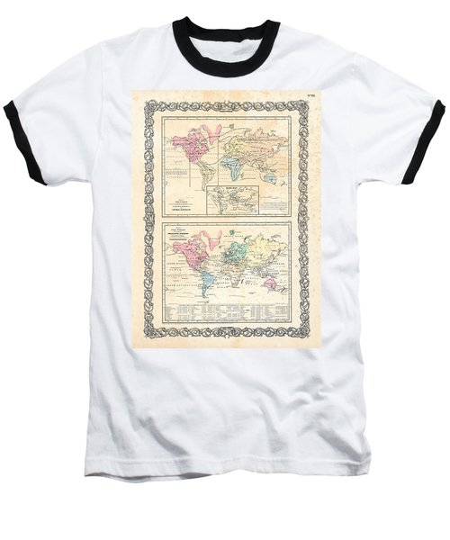 Baseball T-Shirt featuring the photograph 1855 Antique First Plate Ortelius World Map Animal Kingdom World Commerce And Navigation by Karon Melillo DeVega