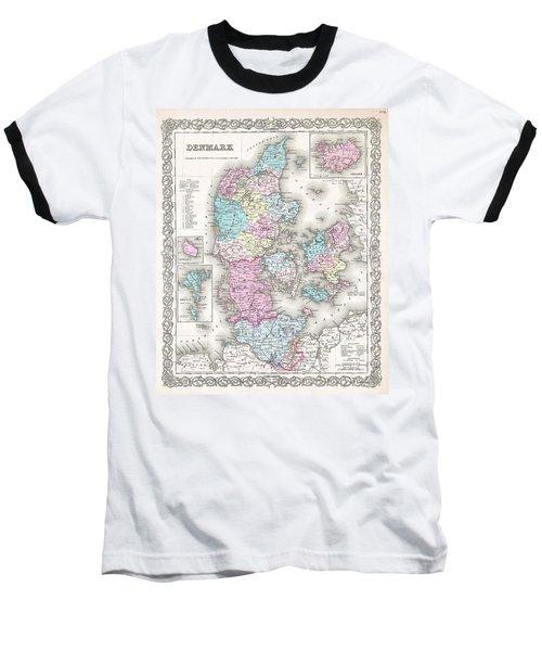 1855 Colton Map Of Denmark Baseball T-Shirt