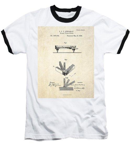 1878 Steinway Grand Piano Forte Patent Art S.2 Baseball T-Shirt