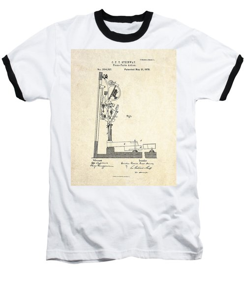 1878 Steinway Piano Forte Action Patent Art  Baseball T-Shirt by Gary Bodnar