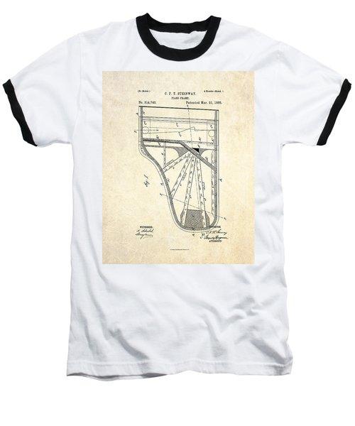 1885 Steinway Piano Frame Patent Art Baseball T-Shirt by Gary Bodnar