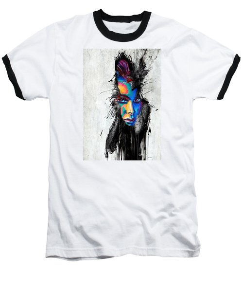 Baseball T-Shirt featuring the painting Facial Expressions by Rafael Salazar