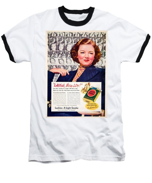 1938 - Lucky Strike Cigarettes Advertising - Myrna Loy - Color Baseball T-Shirt