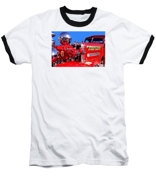 1949 Ahrens Fox Piston Pumper Fire Truck Baseball T-Shirt by Jim Carrell