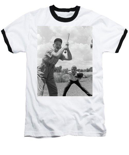1950s Grandfather At Bat With Grandson Baseball T-Shirt