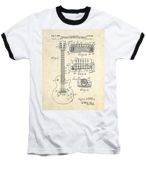 1955 Gibson Les Paul Patent Drawing Baseball T-Shirt by Gary Bodnar