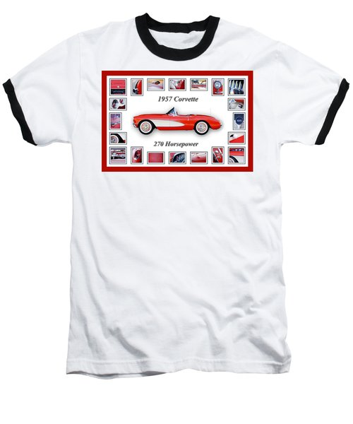 1957 Chevrolet Corvette Art Baseball T-Shirt by Jill Reger