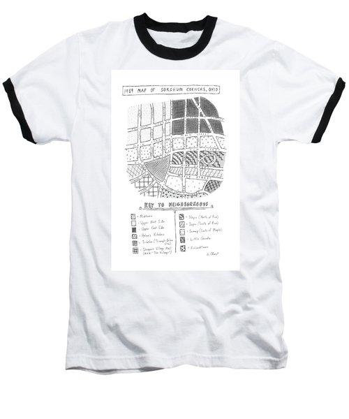 1989 Map Of Sorghum Corners Baseball T-Shirt
