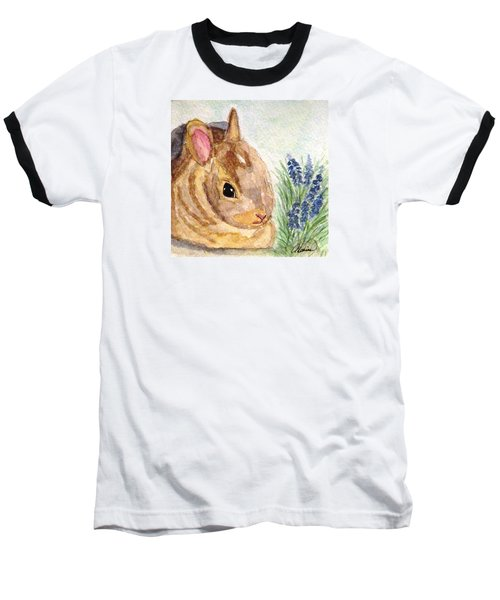 Baseball T-Shirt featuring the painting A Baby Bunny by Angela Davies