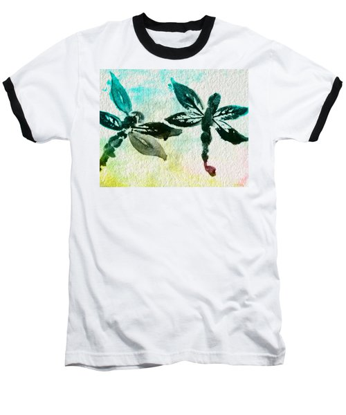 Baseball T-Shirt featuring the digital art 2 Dragonflies Abstract by Frank Bright