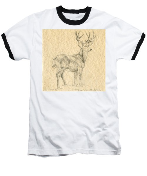 Baseball T-Shirt featuring the drawing Elk by Mary Ellen Anderson