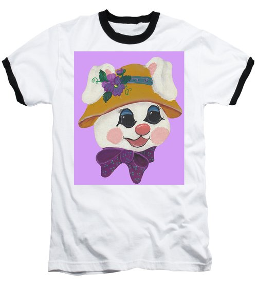 Baseball T-Shirt featuring the painting Funny Bunny by Barbara McDevitt