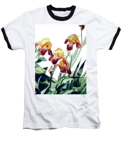 Watercolor Of Tall Bearded Irises I Call Iris La Vergine Degli Angeli Verdi Baseball T-Shirt