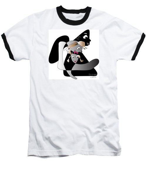 Baseball T-Shirt featuring the digital art Just Baby And Me And Daddy Makes Three by Iris Gelbart