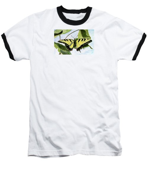 Baseball T-Shirt featuring the painting Male Eastern Tiger Swallowtail by Angela Davies