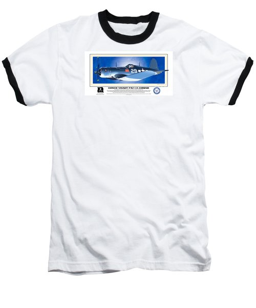 Baseball T-Shirt featuring the drawing Navy Corsair 29 by Kenneth De Tore