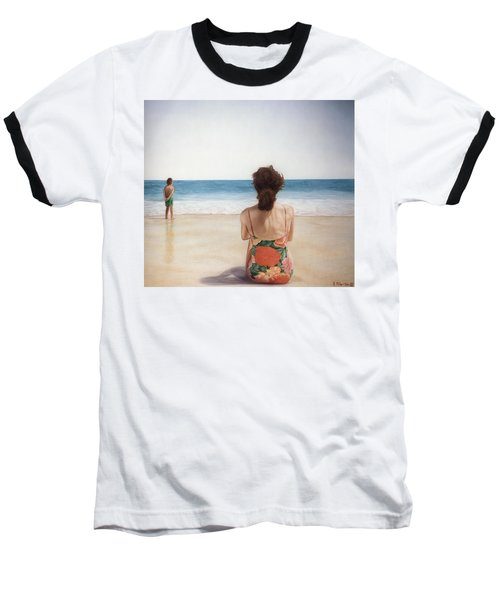 On The Beach Baseball T-Shirt by Rich Milo