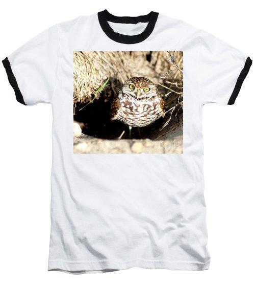 Owl Baseball T-Shirt by Oksana Semenchenko
