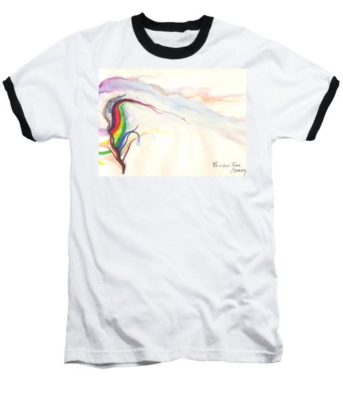 Rainbow Tree Baseball T-Shirt by Rod Ismay
