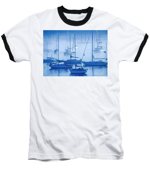 Baseball T-Shirt featuring the photograph Sailboats In The Fog - Maine by David Perry Lawrence