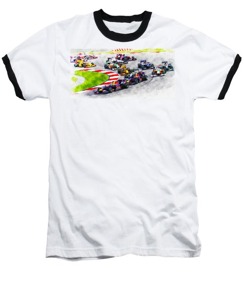 Sebastian Vettel Leads The Pack Baseball T-Shirt